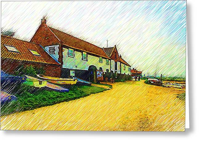 The Boathouse Burnham Overy Staithe Greeting Card by Chris Thaxter