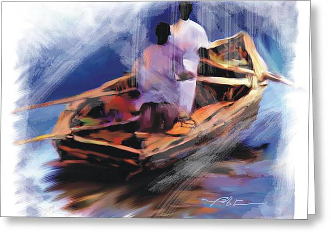 Greeting Card featuring the painting The  Boatmen by Bob Salo