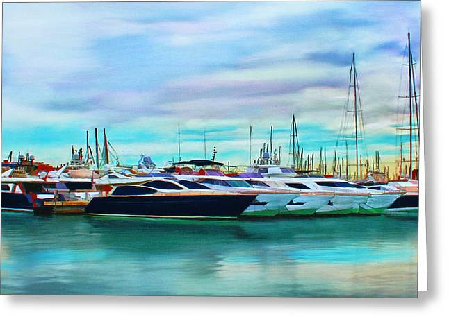 The Boats Of Malaga Spain Greeting Card