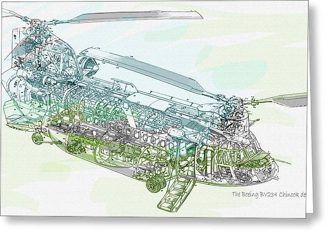 The Boeing Bv234 Chinook Detail Greeting Card by Don Kuing