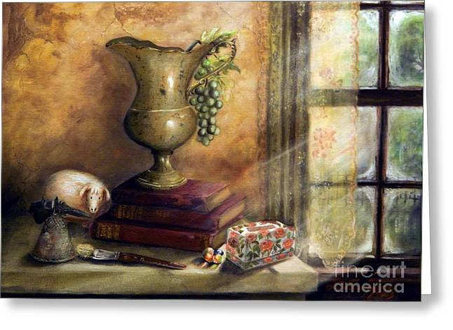 The Books By The Window Greeting Card by Sandra Aguirre