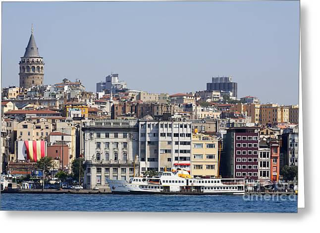 The Bosphrus Galata Tower And City Skyline Istanbul Greeting Card by Robert Preston