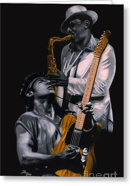 Greeting Card featuring the painting Bruce Springsteen And Clarence Clemons by Thomas J Herring
