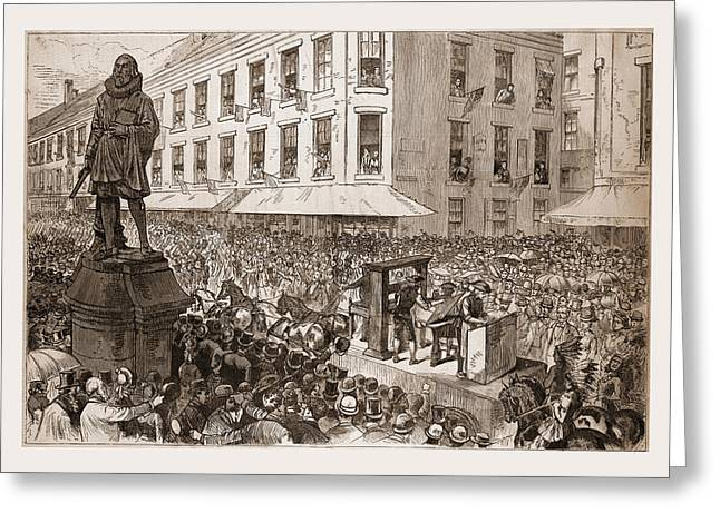 The Boston Celebration—the Procession Passing Greeting Card by Litz Collection