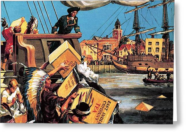 The Boston Tea Party Greeting Card by English School