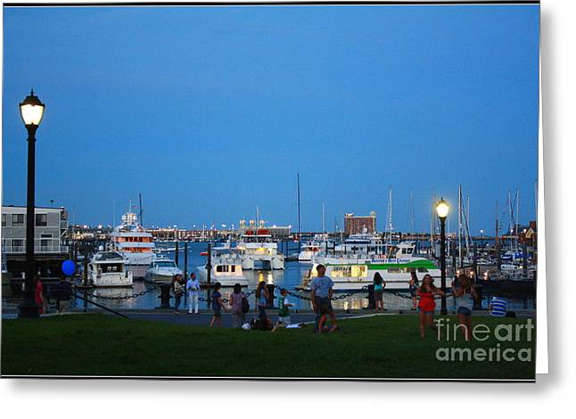 The Boston Wharf In The Early Evening Greeting Card by Dora Sofia Caputo Photographic Art and Design