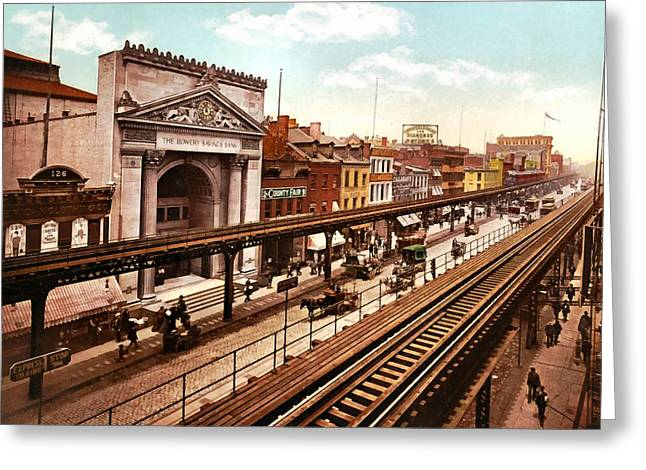 The Bowery New York City 1900 Greeting Card