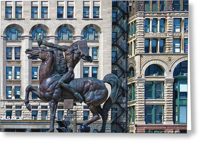 The Bowman - Chicago Indian Statue - 02 Greeting Card by Gregory Dyer