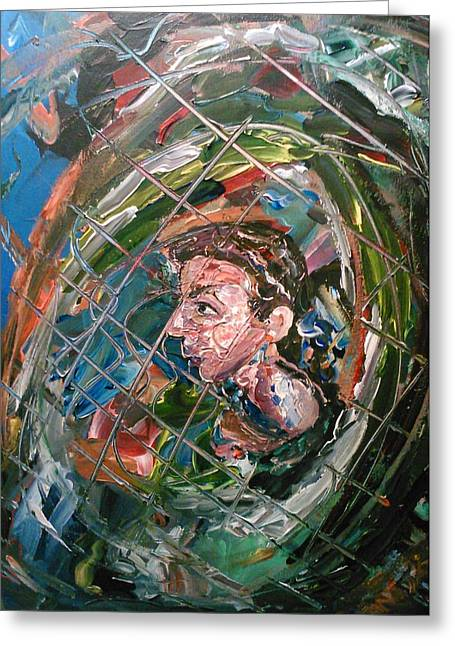 Greeting Card featuring the painting The Boy In The Mirror by Ray Khalife