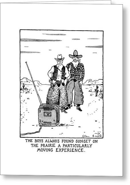 The Boys Allways Found Sunset On The Prairie Greeting Card
