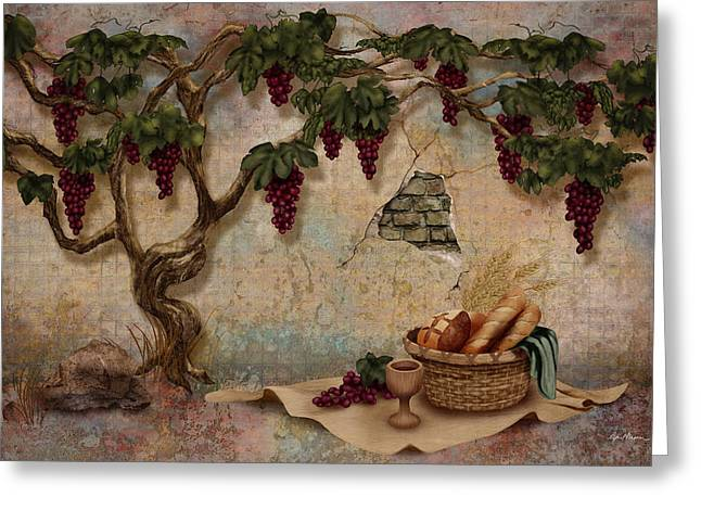The Bread And The Vine Greeting Card by April Moen