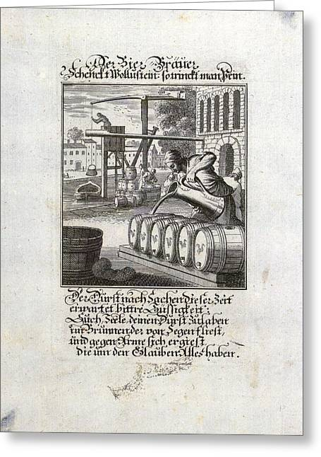 The Brewer, Old Master Print, 17th Century, 1600s, 1700s Greeting Card