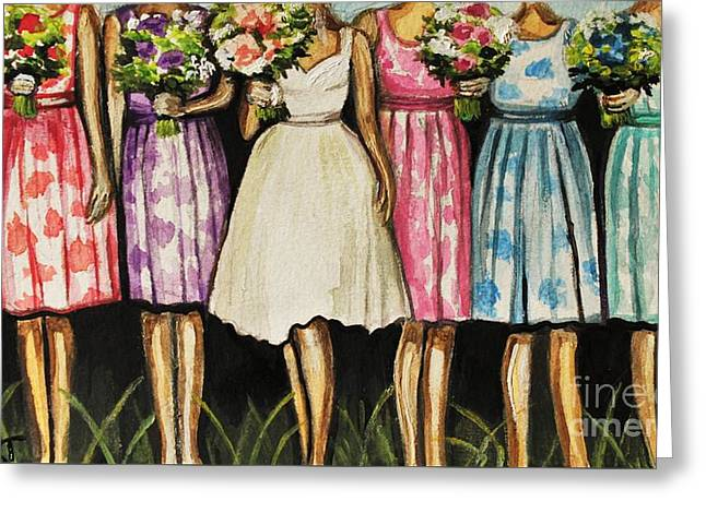 The Bride And Her Bridesmaids Greeting Card