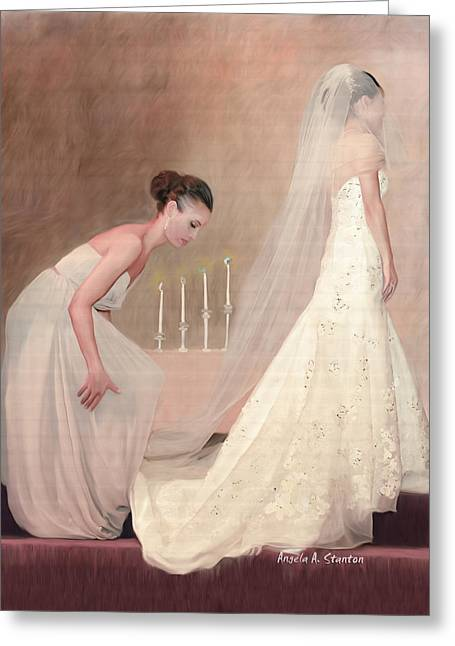 The Bride And Her Maid Of Honor Greeting Card by Angela A Stanton