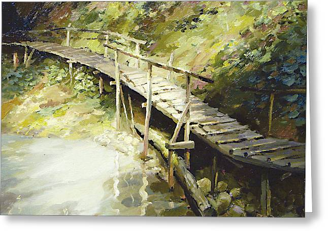 Greeting Card featuring the painting The Bridge In The Mountains by Dmitry Spiros