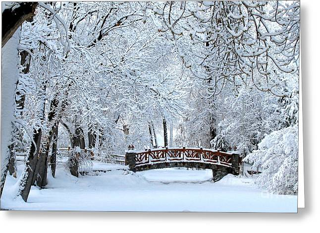 The Bridge In Winter Greeting Card by Vinnie Oakes