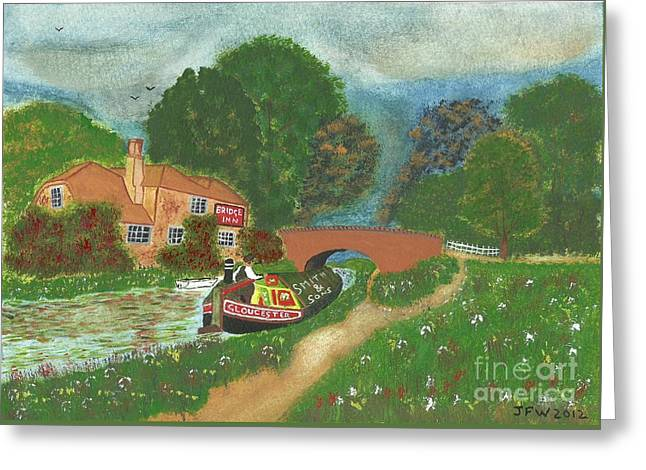 Greeting Card featuring the painting The Bridge Inn by John Williams