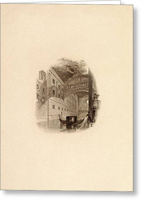 The Bridge Of Sighs, Venice, C.1832 Engraving Greeting Card by Edward Francis Finden