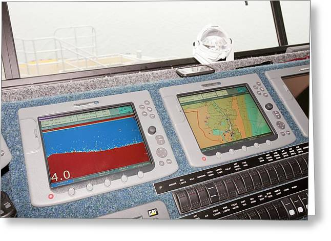 The Bridge Of The Offshore Support Vessel Greeting Card by Ashley Cooper
