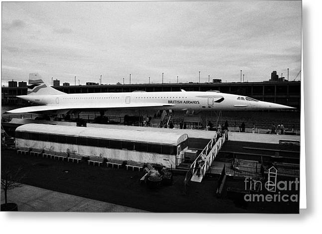 the British Airways Concorde exhibit from the Intrepid flight deck  Greeting Card