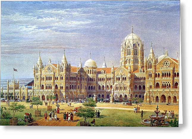 The British Raj Great Indian Peninsular Terminus Wc On Paper Greeting Card by Axel Haig