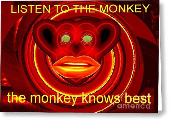 The Broadcast Monkey Greeting Card by Catherine Lott