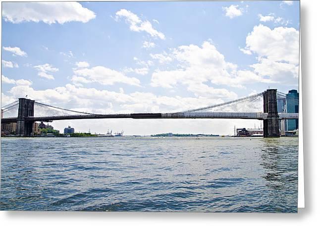 The Brooklyn Bridge And East River Greeting Card