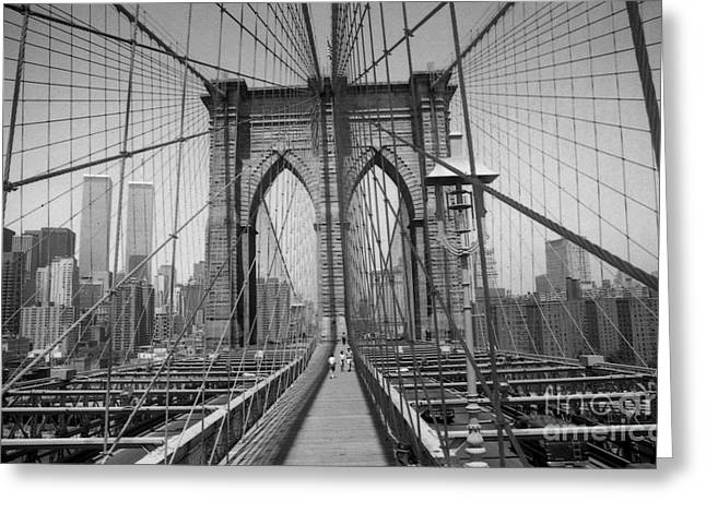The Brooklyn Bridge Before Nine Eleven Greeting Card