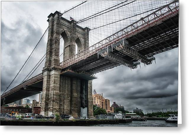 Greeting Card featuring the photograph The Brooklyn Bridge by Linda Karlin