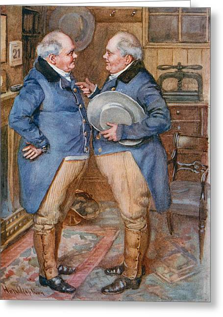 The Brothers Cheeryble, Illustration For Sketches From Dickens Compiled By B.w. Matz, 1924 Colour Greeting Card by Harold Copping