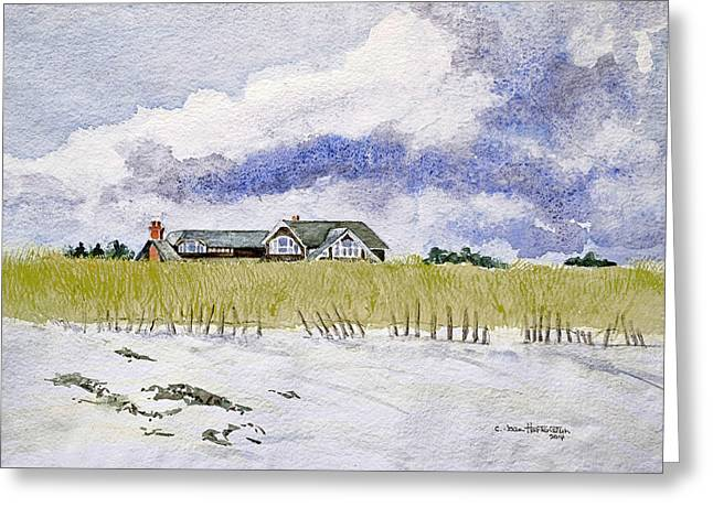 The Brown House On East Beach Greeting Card