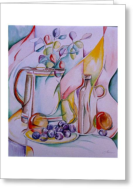 2. Grapes And Company Greeting Card by Elaine Wilson