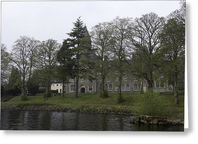 The Building Of The St Benedict Abbey At The Shore Of Loch Ness Greeting Card by Ashish Agarwal
