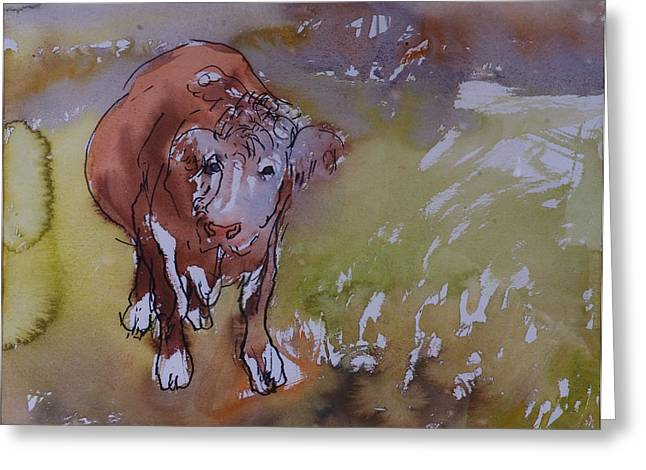 The Bullock, 1983 Pen & Ink With Wc On Paper Greeting Card