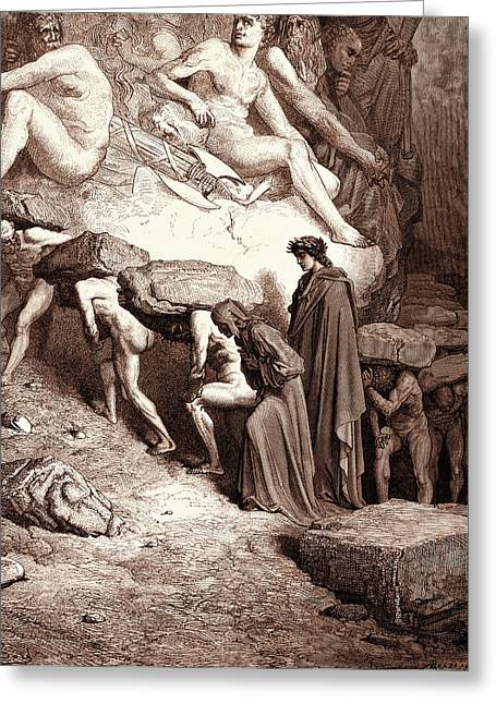 The Burden Of Pride, By Gustave Dore, 1832 - 1883 Greeting Card