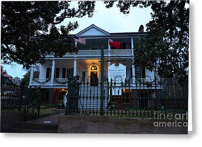The Burgwin Wright House At Night Greeting Card by Bob Sample