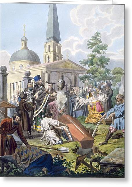 The Burial, 1812-13 Greeting Card by E. Karnejeff