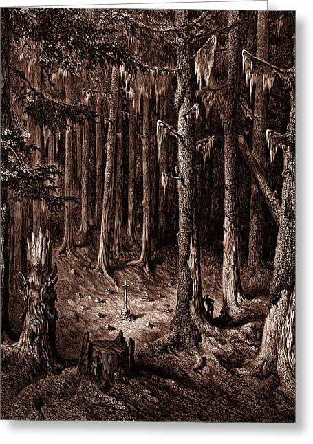 The Burial-ground In The Fir-forest Greeting Card