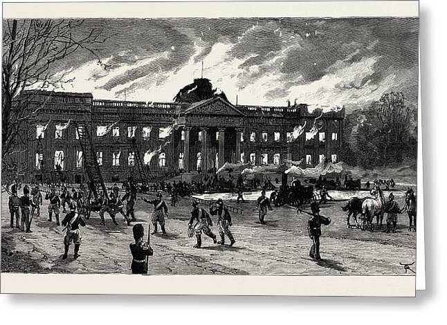 The Burning Of Laeken Castle, Brussels, The Residence Greeting Card by Belgian School