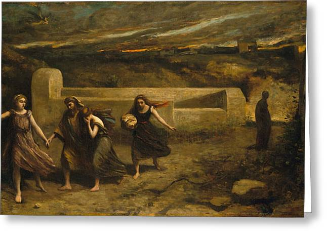 The Burning Of Sodom Greeting Card by Jean-Baptiste-Camille Corot