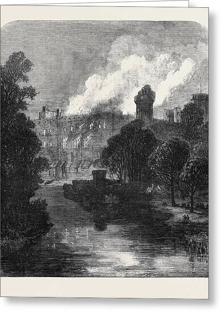 The Burning Of Warwick Castle 1871 Greeting Card