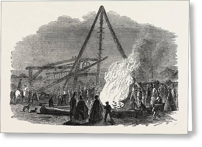 The Burning Well Near The Featherstone Station Greeting Card by English School