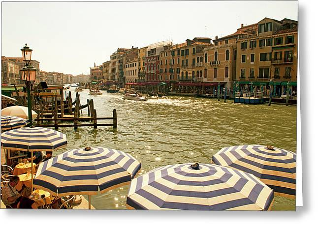 The Bustling River Front Along The Gran Greeting Card