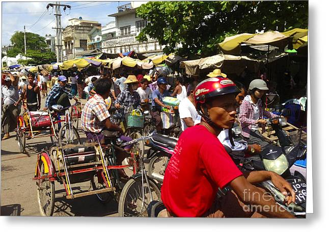 Greeting Card featuring the photograph The Bustling Traffic On 27th Street Zay Cho Street Market Mandalay Burma by Ralph A  Ledergerber-Photography
