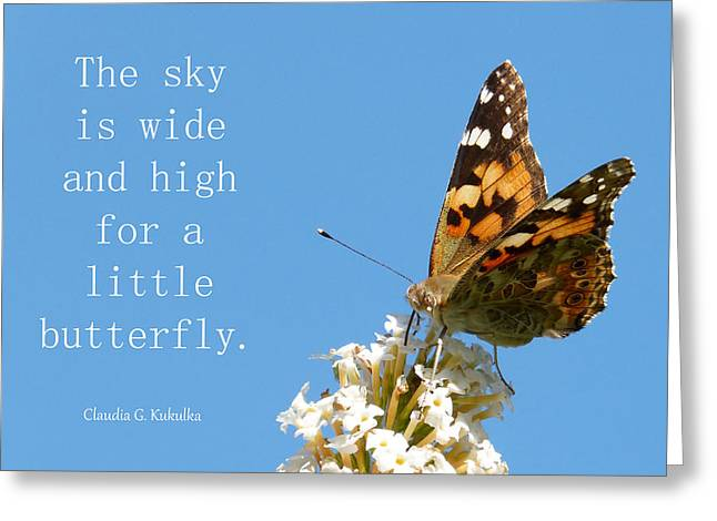 The Butterfly And The Sky Greeting Card by Claudia Kukulka