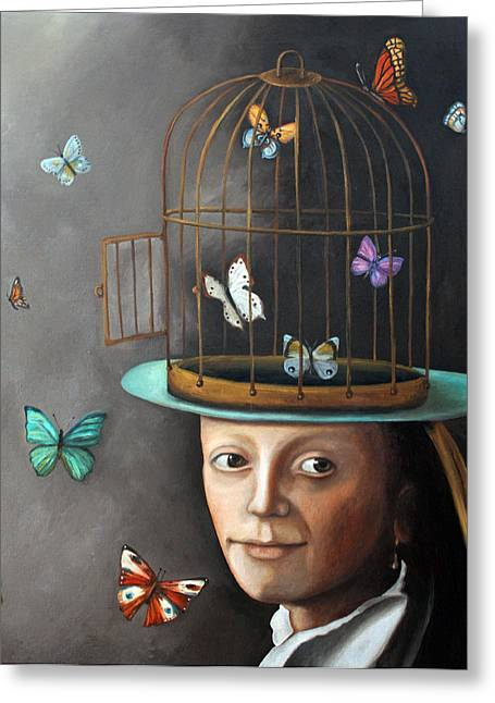 The Butterfly Keeper 1 Greeting Card by Leah Saulnier The Painting Maniac