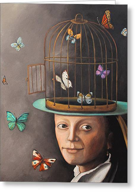 The Butterfly Keeper Edit 2 Greeting Card by Leah Saulnier The Painting Maniac
