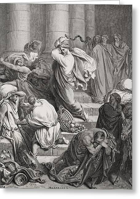 The Buyers And Sellers Driven Out Of The Temple Greeting Card by Gustave Dore