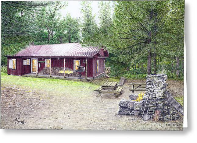 Greeting Card featuring the painting The Cabin In The Woods by Albert Puskaric
