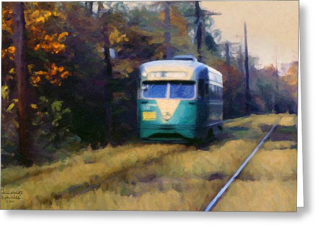 The Cabin John Trolley Greeting Card by Spyder Webb